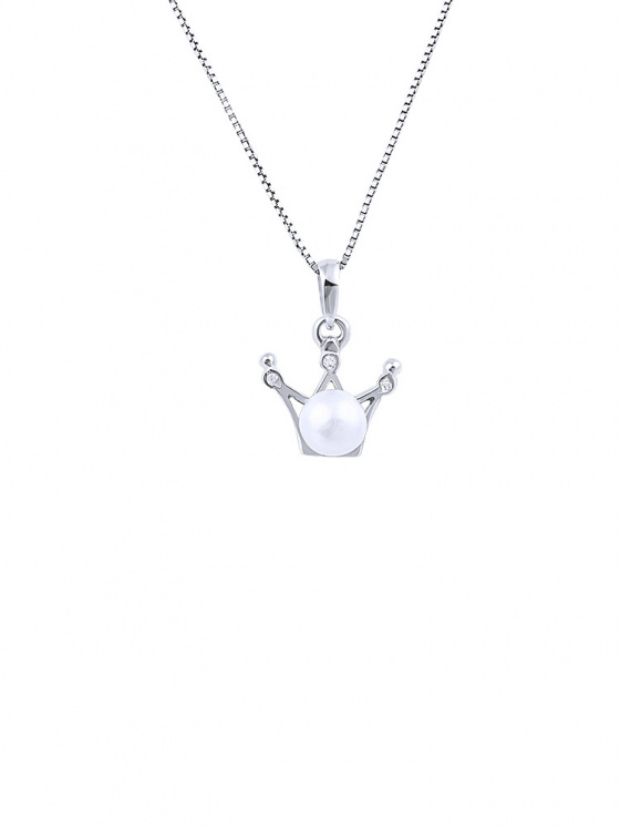 "Image of """"Pearly Crown"" silver necklace"""