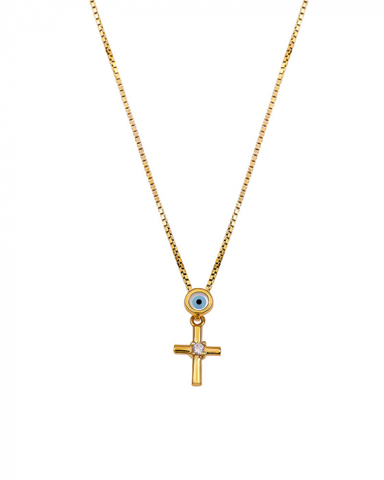 "Image of """"Lucky Charm"" silver cross with chain gold plated"""