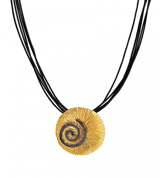 """Image of """"""""The Great Spiral"""" silver pendant gold plated"""""""