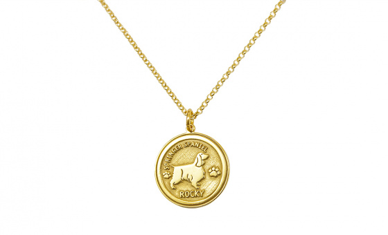 "Image of ""Custom Made ""My Doggie"" silver pendant gold plated (small)"""