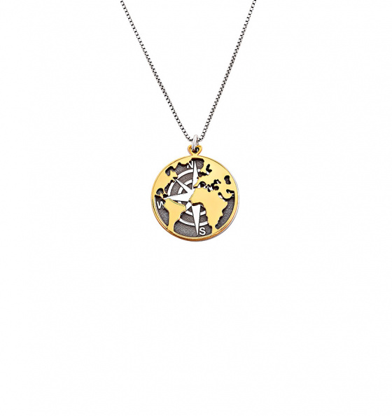 """Image of """"""""Moving globe"""" silver necklace gold plated"""""""