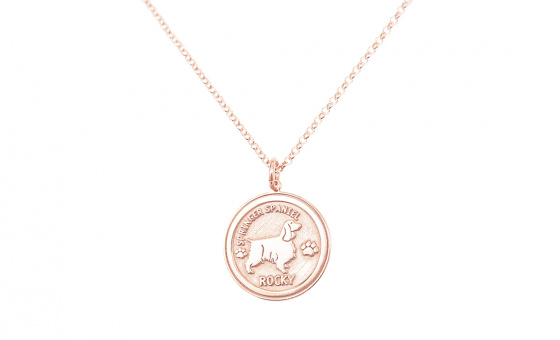 "Image of ""Custom Made ""My Doggie"" rose gold pendant K14 (small)"""