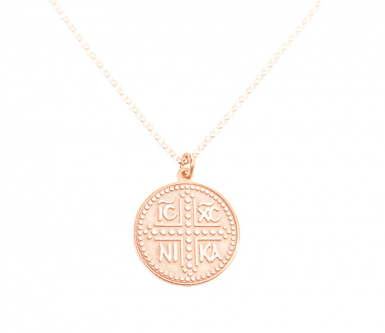 "Image of """"Constantinato #2"" silver pendant rose gold plated (big)"""