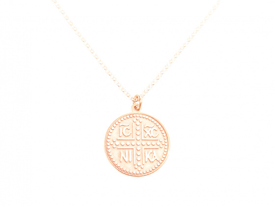 "Image of """"Constantinato #2"" silver pendant rose gold plated (small)"""