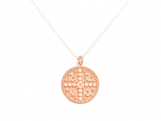 "Image of """"Constantinato #3"" silver pendant rose gold plated (small)"""