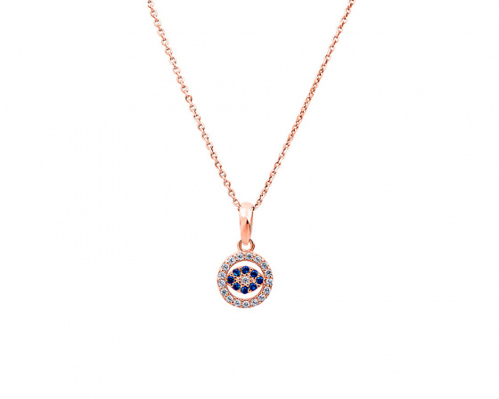 "Image of """"Circled Eye"" silver necklace rose gold plated"""