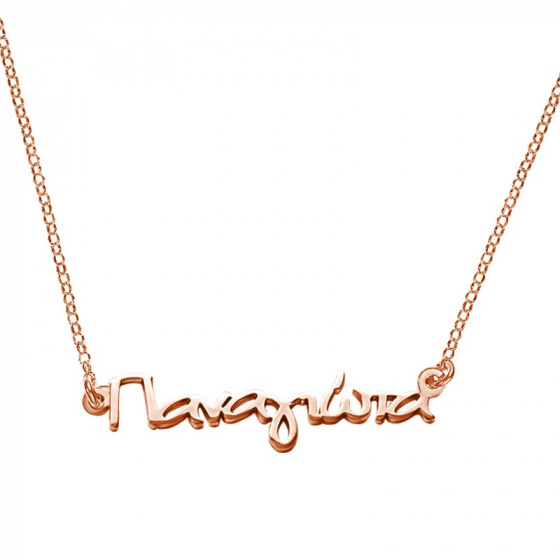 "Image of """"Panagiota"" silver custom necklace rose gold plated"""