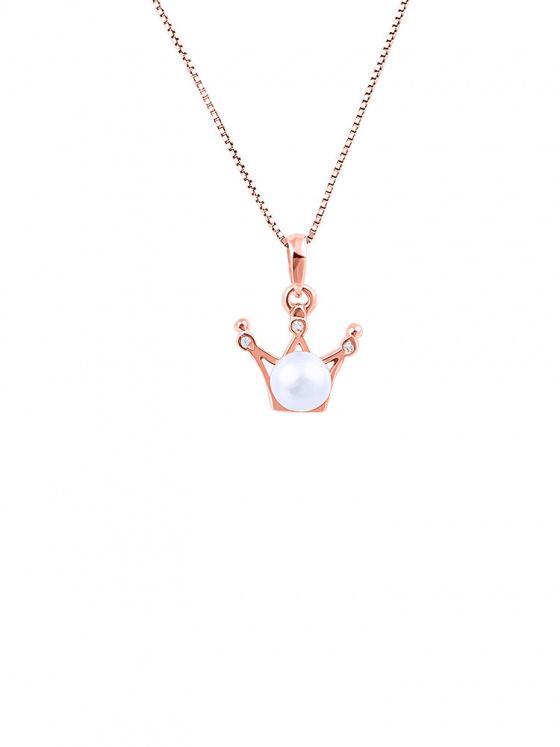 """Εικόνα του """"Ασημένιο κολιέ """"Pearly Crown"""" ροζ επίχρυσο"""""""