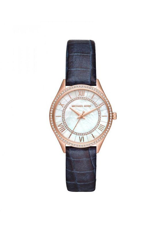 "Image of ""MICHAEL KORS Mini Lauryn MK2757 Women's Watch with Blue Leather Strap"""