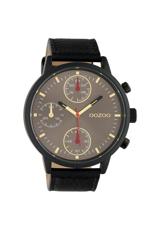 "Image of ""OOZOO Timepieces C10532 Men's Watch with Black Leather Strap"""