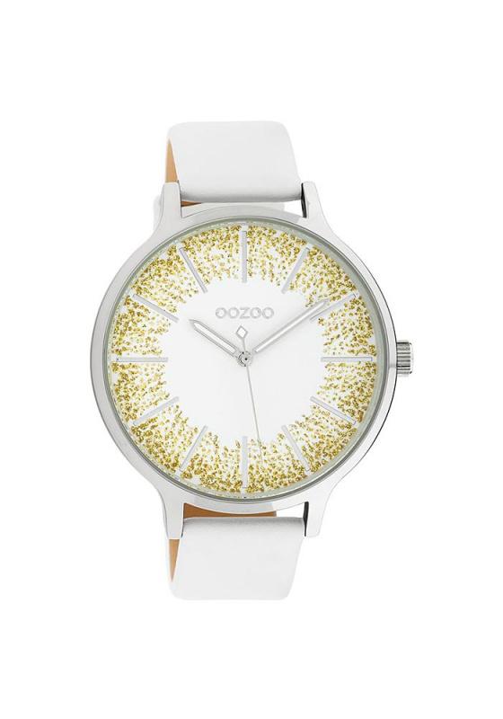 """Εικόνα του """"OOZOO Timepieces C10565 Γυναικείο Ρολόι με Λευκό Δερμάτινο Λουρί"""""""