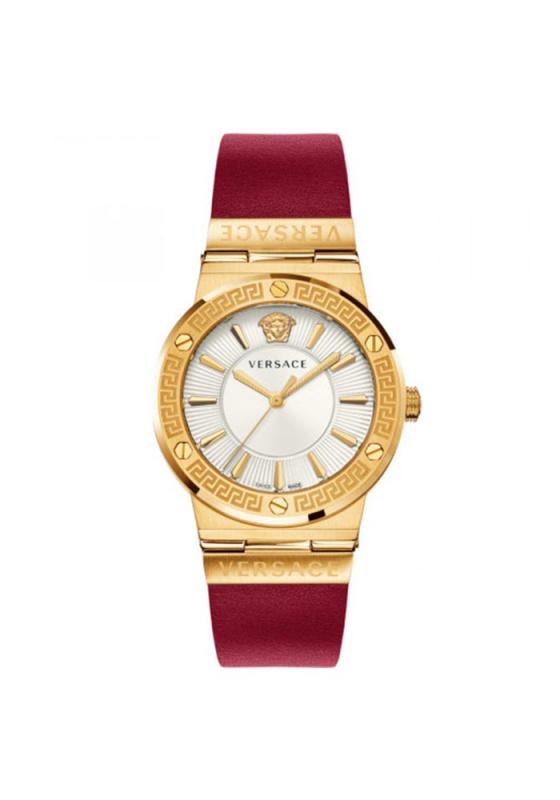 """Εικόνα του """"VERSACE Greca Logo VEVH00420 Γυναικείο Ρολόι με Κόκκινο Δερμάτινο Λουρί"""""""