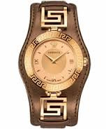 "Image of ""VERSACE V-Signature VLA040014 Women's Watch with Bronze Leather Strap"""