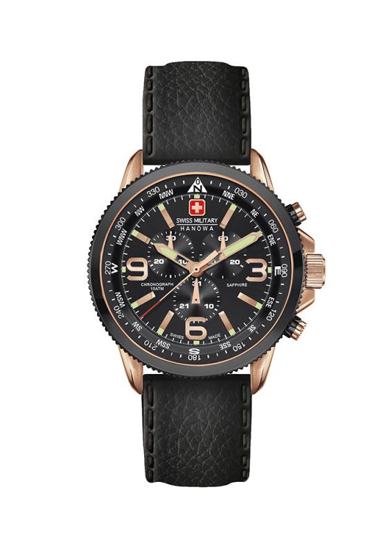 """Εικόνα του """"SWISS MILITARY Hanowa Arrow 06-4224.09.007 Ανδρικό Ρολόι με Μαύρο Δερμάτινο Λουρί (Δέρμα)"""""""