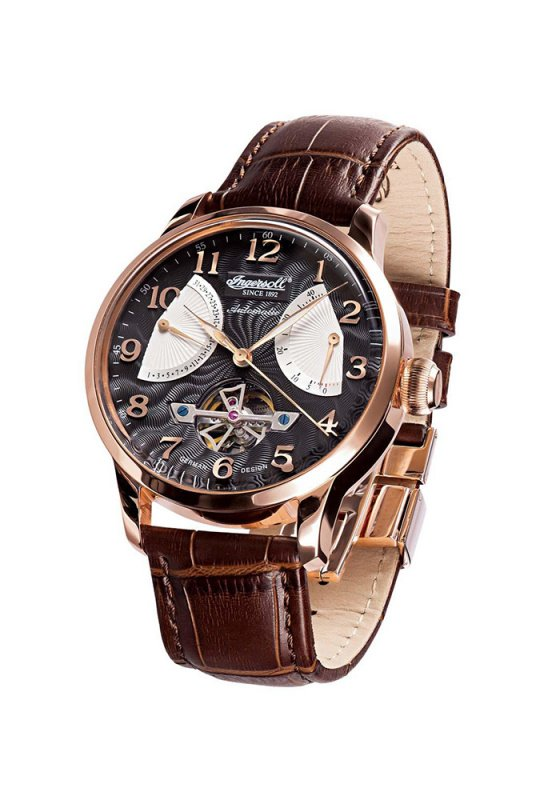 "Image of ""INGERSOLL Massa IN6910RBK Men's Automatic Watch with Brown Leather Strap"""