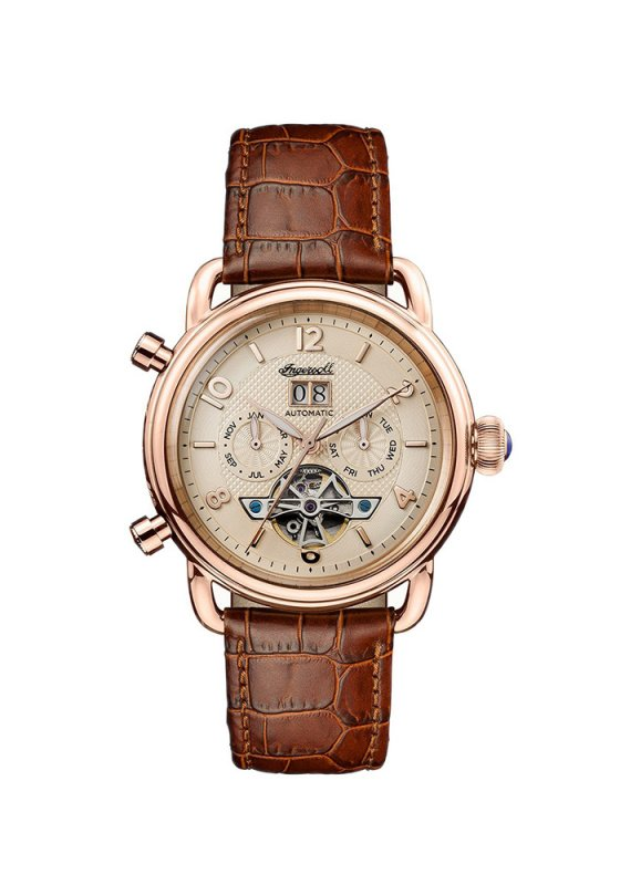 "Image of ""INGERSOLL New England I00901 Men's Automatic Watch with Brown Leather Strap"""