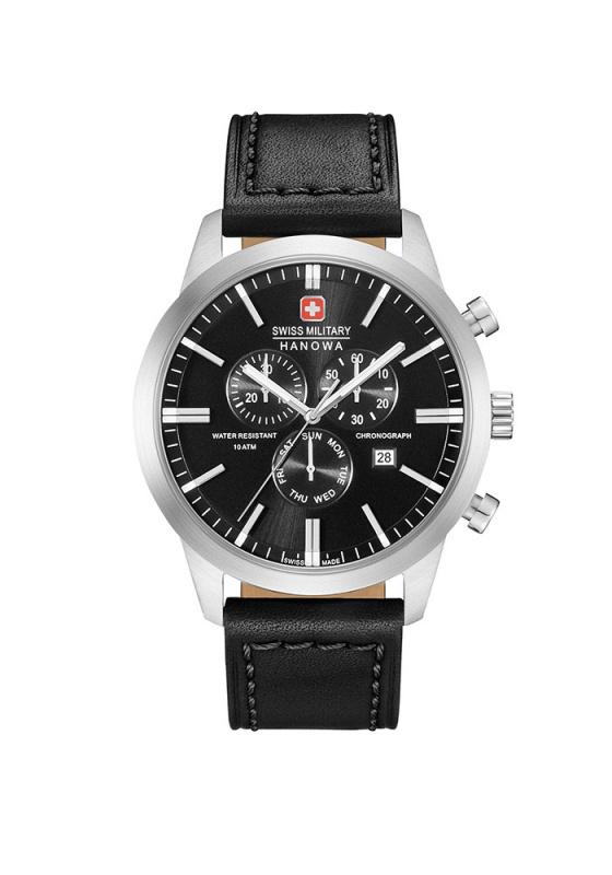 """Εικόνα του """"SWISS MILITARY Hanowa Classic 06-4308.04.007 Ανδρικό Ρολόι με Μαύρο Δερμάτινο Λουρί (Δέρμα)"""""""