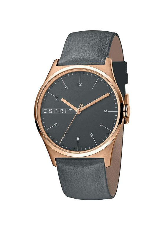 "Image of ""ESPRIT Essential ES1G034L0035 Men's Watch With Grey Leather Strap"""