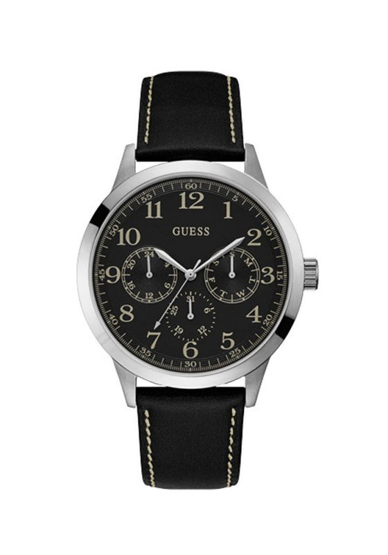 "Image of ""GUESS Multifunction Chrono W1101G1 Men's Watch with Black Leather Strap"""