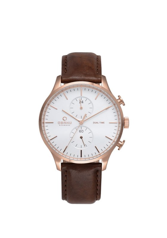 "Image of ""OBAKU Gran V196GUVWRN Men's Watch with Brown Leather Strap"""