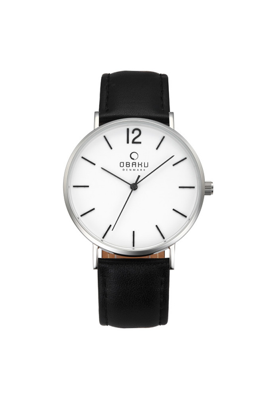 "Image of ""OBAKU Mark V197GXCWRB Men's Watch with Black Leather Strap"""