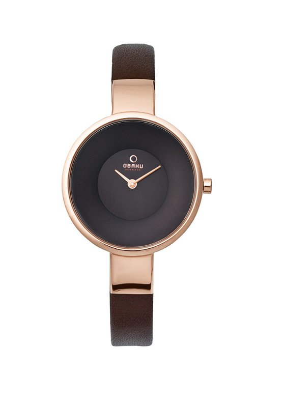 "Image of ""OBAKU Sol V149LXVNRN Women's Watch with Brown Leather Strap"""