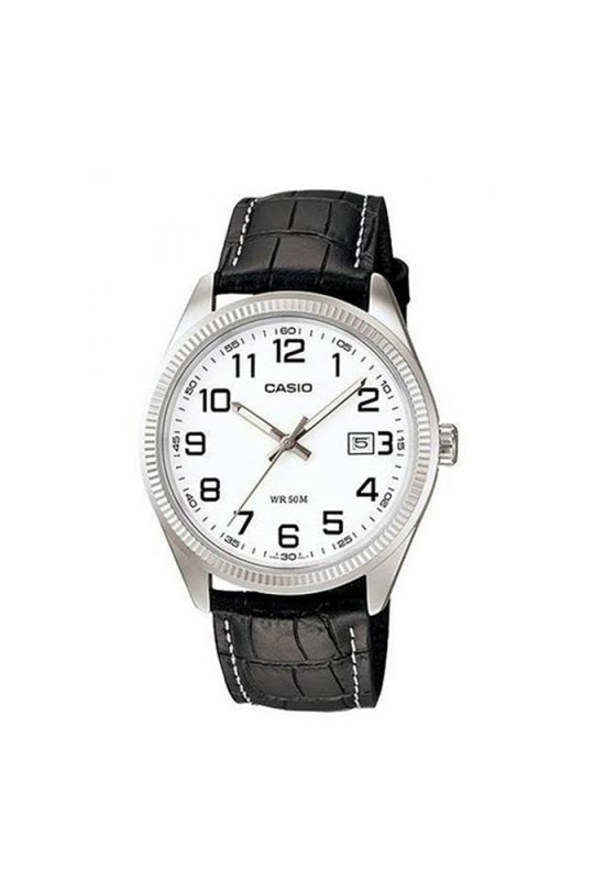"Image of ""CASIO Collection MTP-1302PL-7BVEF Men's Watch with Black Leather Strap"""