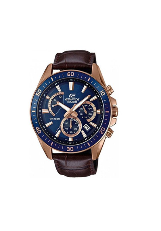 "Image of ""CASIO Edifice Chrono EFR-552GL-2AVUEF Men's Watch with Brown Leather Strap"""