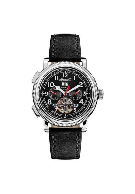 """Image of """"INGERSOLL Bloch I02603 Men's Automatic Watch with Black Leather Strap"""""""