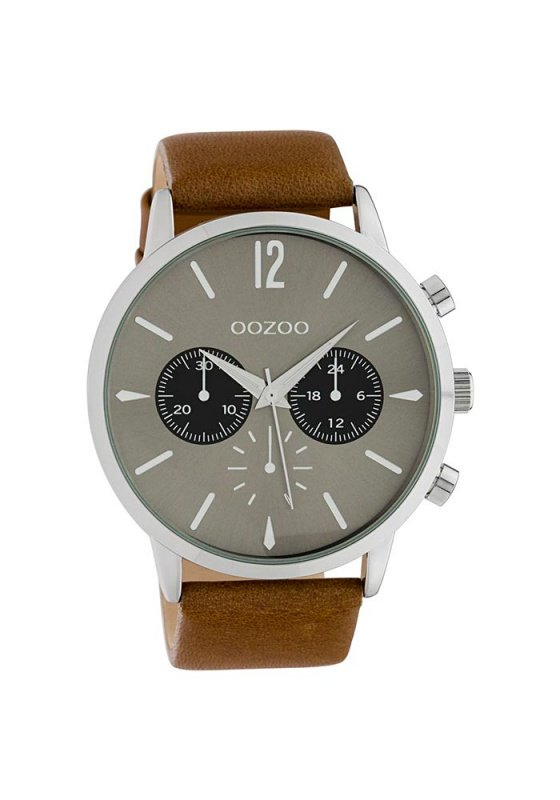 """Image of """"OOZOO Timepieces C10357 Unisex Watch with Brown Leather Strap"""""""