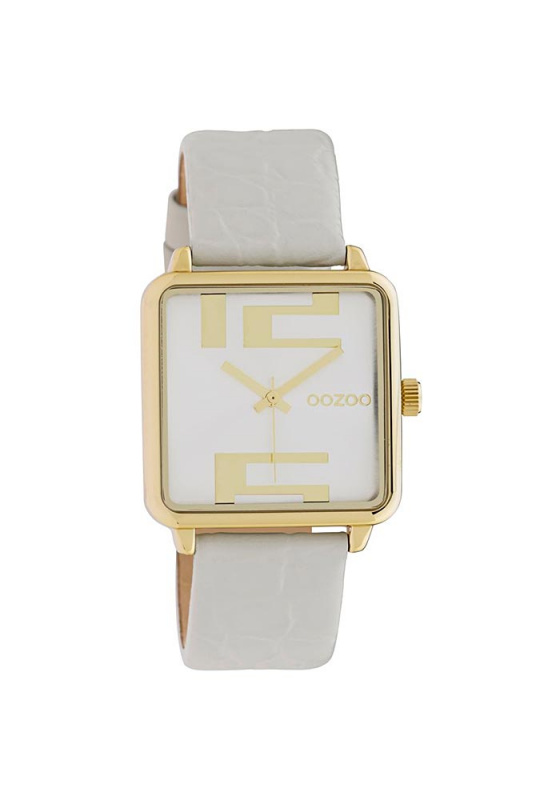 "Image of ""OOZOO Timepieces C10365 Women's Watch with White Leather Strap"""