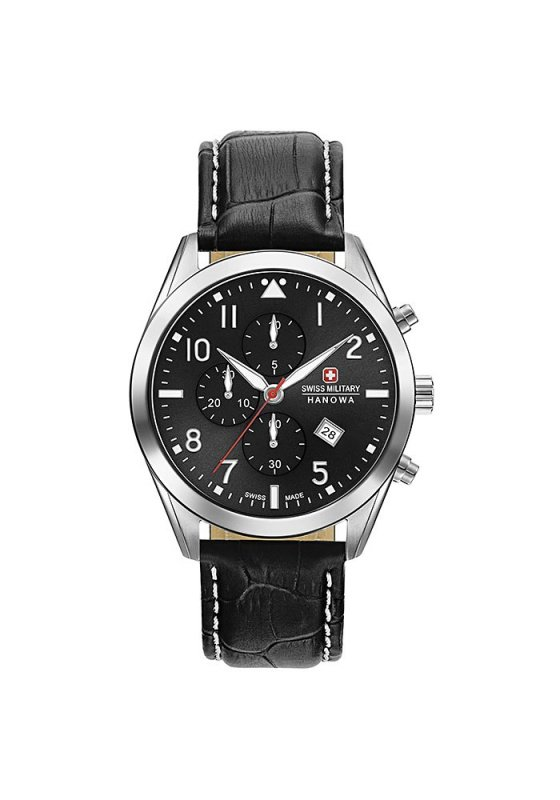 "Image of ""SWISS MILITARY HANOWA Helvetus Chrono 6-4316.04.007 Men's Watch with Black Leather Strap"""