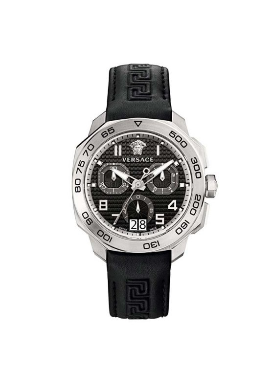 "Image of ""VERSACE Dylos Chrono VQC010015 Men's Watch with Black Leather Strap"""