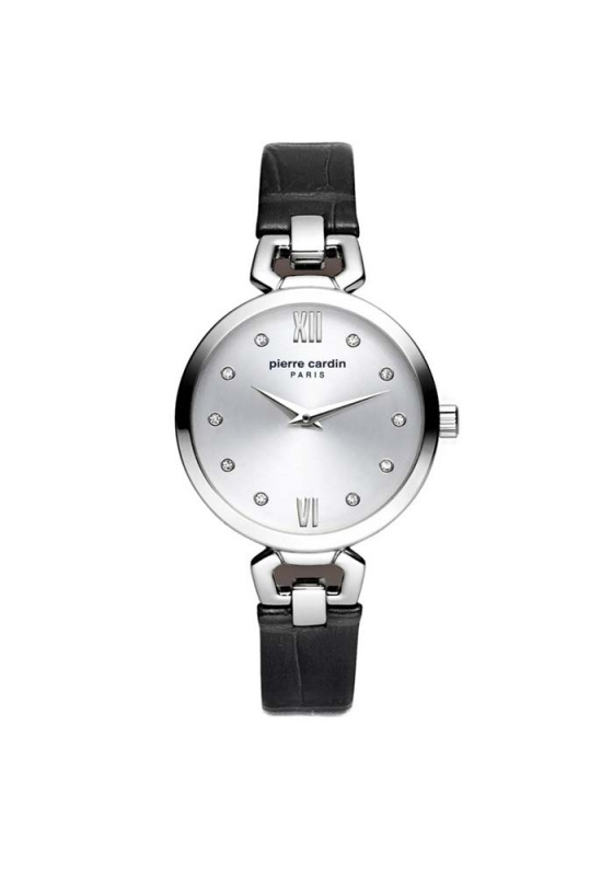 "Image of ""PIERRE CARDIN Pyrenees Femme PC902462F01 Women's Watch with Black Leather Strap"""