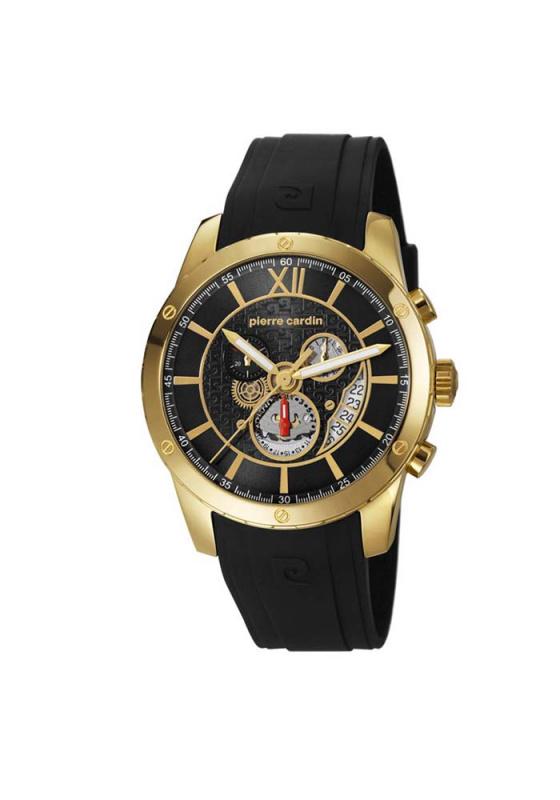 """Εικόνα του """"PIERRE CARDIN Limoges Chrono PC106101F02 Ανδρικό Ρολόι με Μαύρο Δερμάτινο Λουρί"""""""