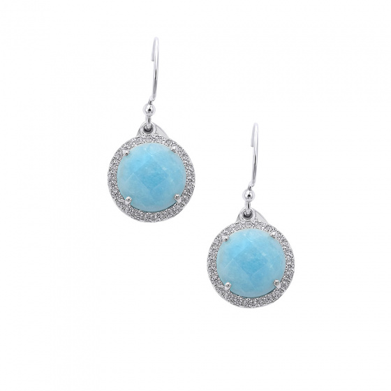 "Image of """"Round Baby Blue"" silver earrings"""