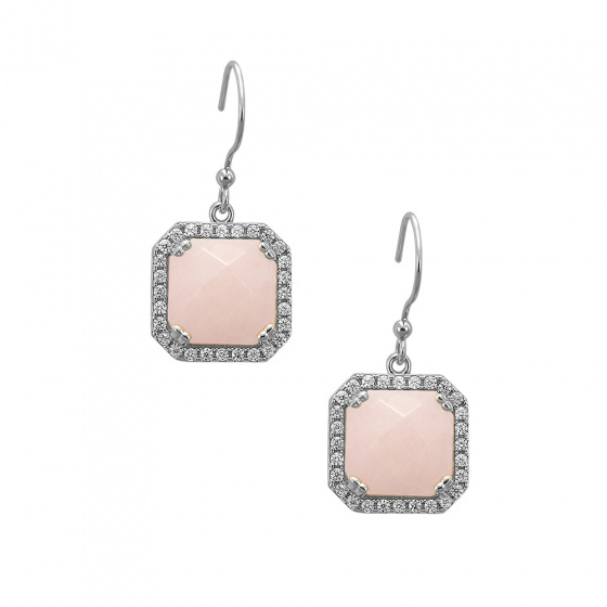 "Image of """"Square Pink Jades"" silver earrings"""