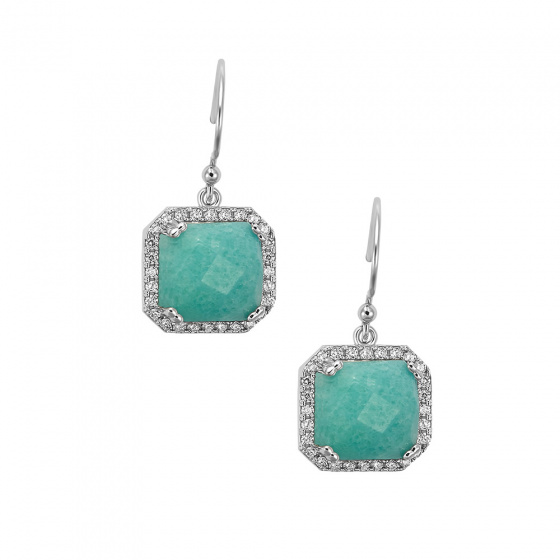 "Image of """"Square Green Jades"" silver earrings"""