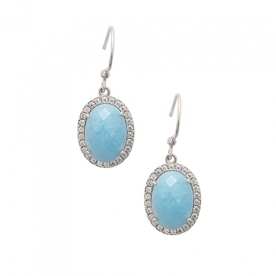 "Image of """"Oval Blue Jades"" silver earrings"""