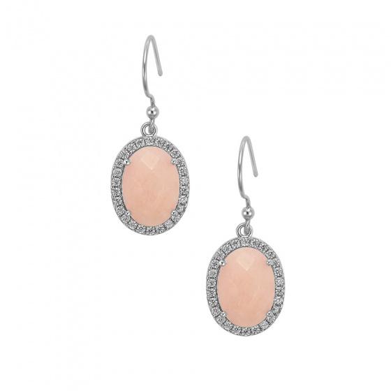 "Image of """"Oval Pink Jades"" silver earrings"""