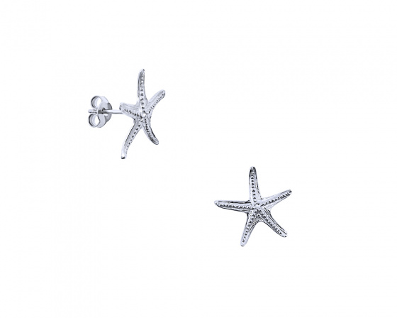 "Image of """"Starfish #2"" silver earrings"""