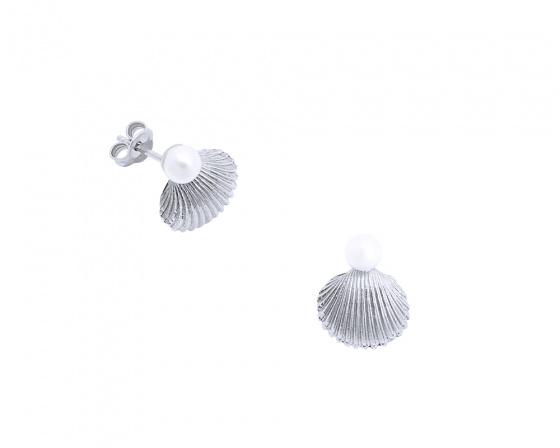 "Image of """"Pearl in Oyster"" silver earrings"""