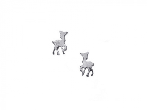 "Image of """"Lovely Deer"" silver children's earrings"""