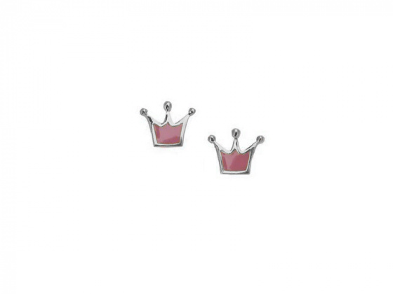"Image of """"Lovely Crown"" silver children's earrings"""