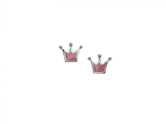 "Image of """"Lovely Crown"" silver children's earrings"""