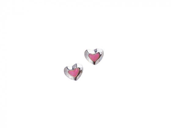 """Image of """"""""Lovely Heart"""" silver children's earrings"""""""