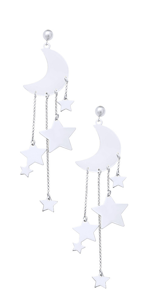 "Image of """"A Night Full of Stars"" silver earrings"""
