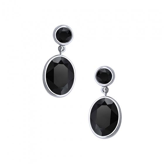 "Image of """"Black Temptation"" silver earrings"""