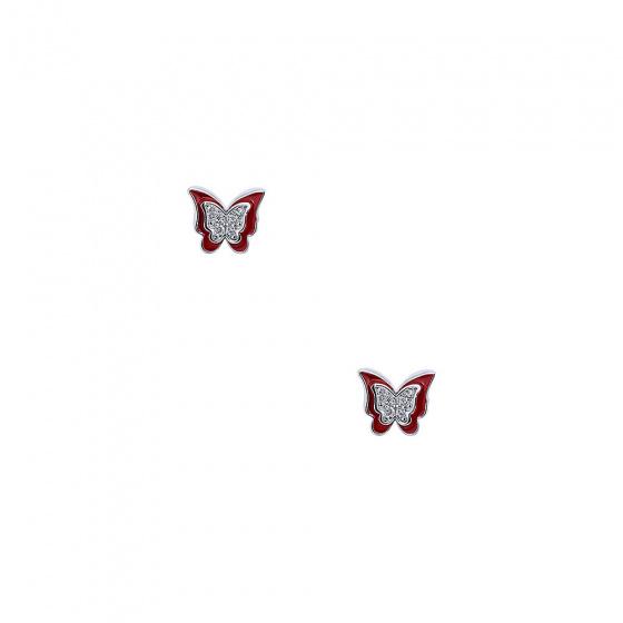 """Image of """"""""Cutie Red Butterflies"""" silver children's earrings"""""""