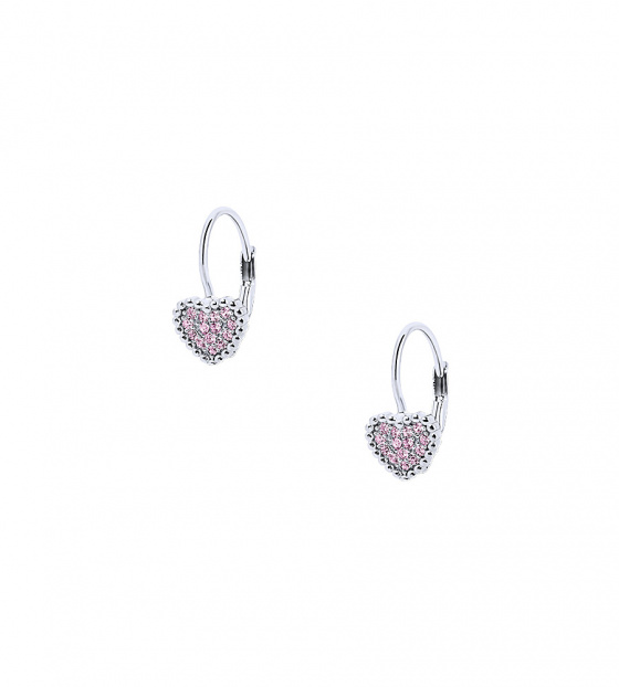 "Image of """"Cutie Pink Hearts #1"" silver children's earrings"""